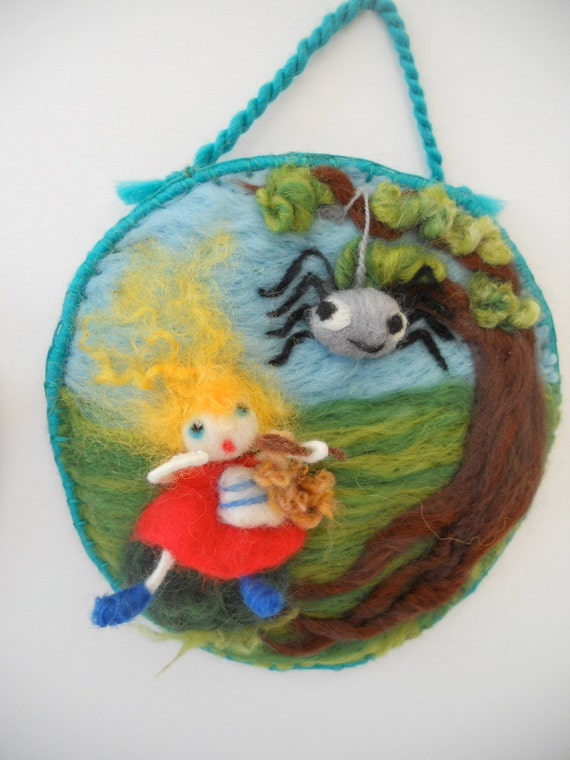 Little Miss Muffet sat on a Tuffet. A 3D Needle Felted Nursery Rhyme Picture. FREE Worldwide Shipping