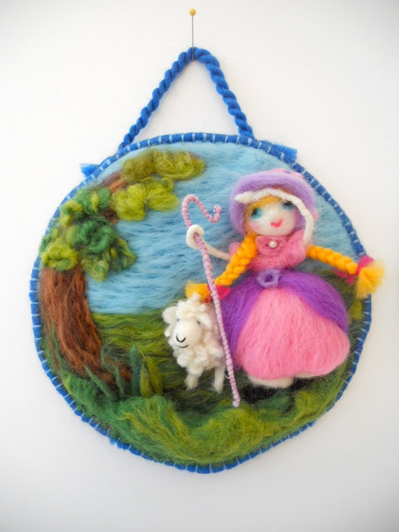 Little Bo Peep has lost her Sheep. A 3D Needle Felted Nursery Rhyme Home Decor. FREE Worldwide Shipping