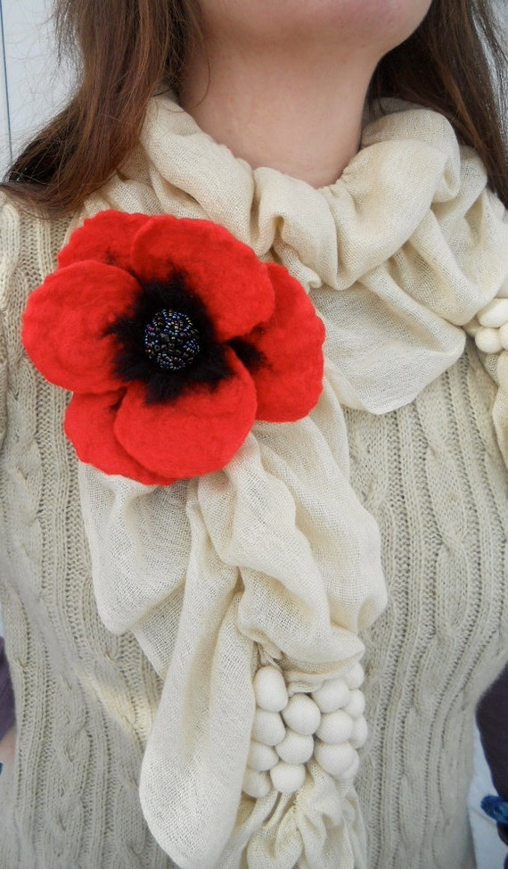 Large Red Poppy Brooch with Beaded Centre. Needle Felted Jewelry. FREE Worldwide Shipping