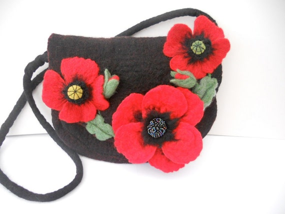 Poppies...A Black and Red Hand Felted Messenger Shoulder Bag. Wet Felted and Needle Felted by Hand