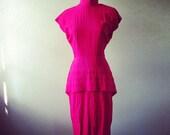 1980s Hot Pink Rockabilly Party Dress