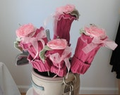 Custom Order for Jan- Let's Go Outside & Play-   New Design by Gina Louise Eco Friendly Shabby Chic Golf Club Covers // Pink Roses