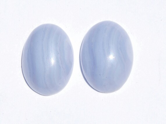 Blue Lace Agate Oval Cabochon Pair