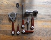 Mid Century Pheasant Hunting Lodge Five Piece Barware