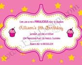 INVITATION, Pink Cupcake - Printable