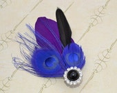 Beautiful handmade indigo peacock & purple clip.