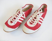 1950s Vintage RED Canvas WHITE STRIPES Sneakers