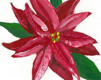Red Poinsettia- Original Painting by Jamies Art 4X4