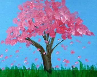Falling Cherry Blossoms- Original Painting by Jamies Art 8x10