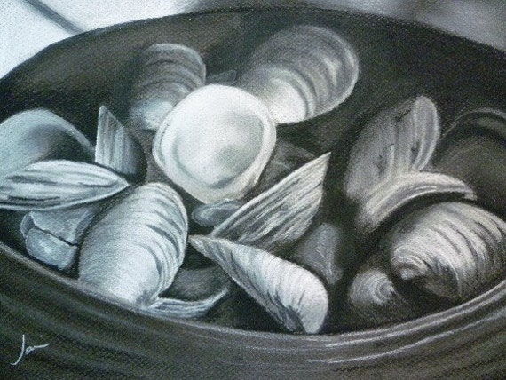 Bucket Of Clams Original Black And White Charcoal By Jamiesart