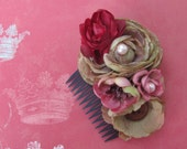 Tudor Dynasty - Pink beige brown and wine colored  Floral Hair Comb W  pearls Summer Garden Collection 2010