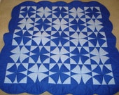 Mystery wheel blue and white quilt Made to Order