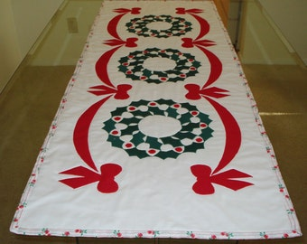 Christmas Table Runner Quilted  Holly Wreaths