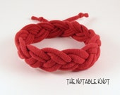 Maroon Red Sailor Bracelet - Size Small, Turk's head knot, T shirt yarn Continuous Braided Bracelet S6