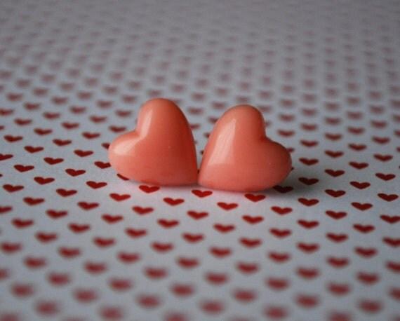 Send a Little LOVE Heart Earrings in Pale Pink Coral