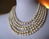 Vintage Bridal Jewelry - FIVE Strand Brides Pearl Aurora Borealis Crystal - Wedding Necklace
