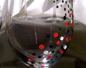 Polka Dot White Wine Glasses