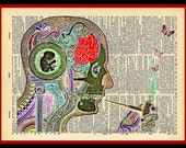 Buy Any 2 Prints get 1 Free Inner Working of A Mad Mind Vintage Dictionary Art