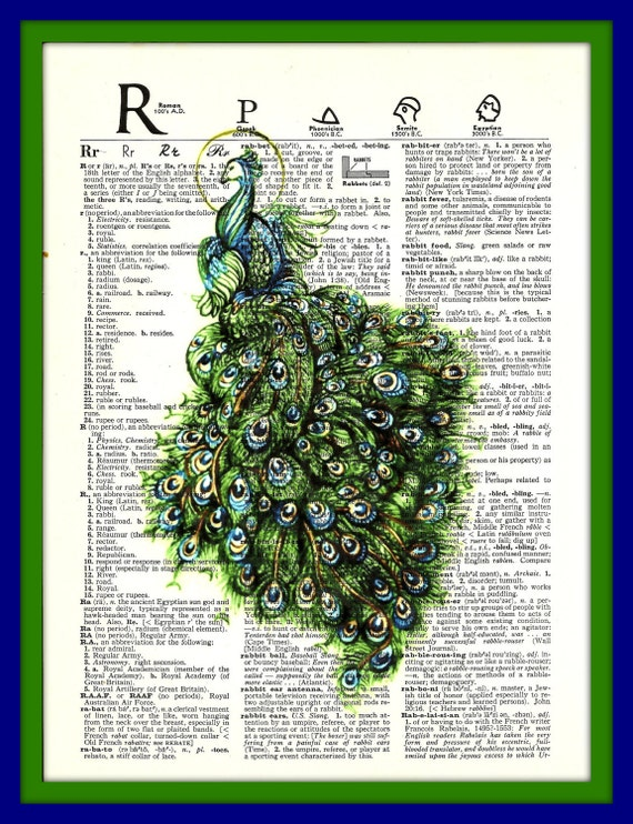 Buy Any 2 Prints get 1 Free Peacock Bird Vintage Dictionary Art