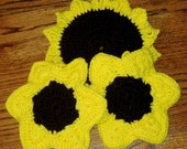 Sunflower, Hot Pad and Pot Holder Set, Handmade