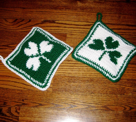 Shamrock Pot Holders/Hot Pads, Handmade