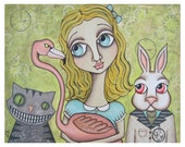 Alice and Friends PRINT of original mixed media painting of Alice in Wonderland artwork by Lori Ramotar
