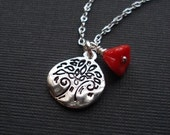 Silver Tree of Life, Red Flower, Necklace, Charm
