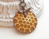 Honeycomb And  Bee Necklace, Botanical, Whimsical, Autumn Jewelry, Vintage Style Jewelry, Pendant. LAST ONE