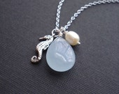 Seahorse Necklace In Sterling Silver, Blue Stone Necklace Aqua Blue Jade Pendant, Pearl, Nautical Necklace, Beach Necklace, Sea Creature