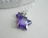 Purple Crystal Stars Pendant Necklace In Sterling Silver, Mother Necklace, Mommy And Me, Purple, Mother's Day, Amethyst