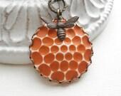 Honey and Bee Necklace, Tangerine Orange Necklace, Botanical Pendant, Vintage Style Jewelry