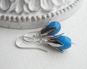 Aqua Blue Dangle Earrings In Silver Dark Blue Stone Earrings Silver Earrings Floral Drop Earrings Gift Under 15