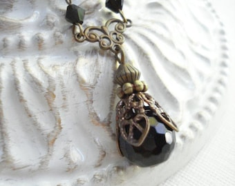 Black Drop Necklace In Antique Brass Beaded Vintage Necklace Classic Necklace Victorian Necklace Style Necklace Costume Jewelry