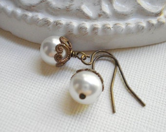 White Pearl Brass Drop Earrings, Classic Pearl Dangle Earrings Wedding Jewelry Bridesmaids Gift Idea Gift For Her
