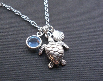 Sea Turtle Necklace Sterling Silver Turtle Necklace Mediterranean Turtle Necklace Shell Charm Beach Jewelry Beach Wedding Sea Jewelry