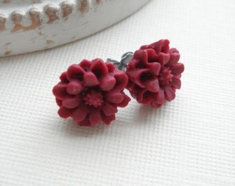 Red Flower Earrings, Studs Post Wine Red Rose Earrings Floral Post Earrings Burgundy Flower Hypoallergenic Earrings