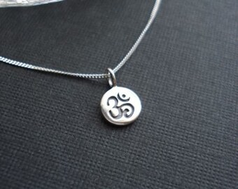Yoga Jewelry Om Necklace Tiny Sterling Silver Ohm Necklace Om Jewelry Om Charm Meditation Jewelry Sterling Silver Ohm Necklace