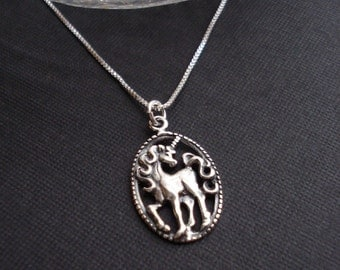 Unicorn Necklace In Sterling Silver With Venetian Box Chain Unicorn Pendant Fantasy Jewelry Gift For Her All Sterling Silver Necklace