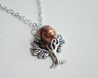 Tree of Life Necklace Silver Acorn Necklace Tree Necklace Mothers Necklace Family Necklace Tree Pendant Gift For Her Under 25