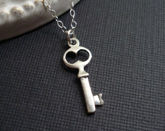 Skeleton Silver Key Necklace Sterling Silver Key To My Heart Necklace Everyday Jewelry Gift For Her Teen Jewelry