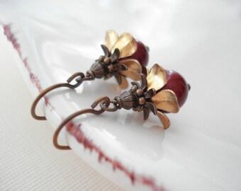 Red Pearl Dangle Earrings, Vintage Style, Flower Drop Earrings, Brass, Gold, Wedding