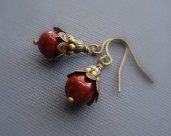 Wine Red Earrings Brass Bordeaux Earrings Pearl Earrings Swarovski Pearls Drop Earrings Red Beaded Earrings Vintage Earrings Burgundy