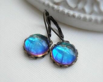Blue Dangle Earrings, Bermuda Blue Glass, Antique Brass Drop Earrings, Gift For Her Under 25