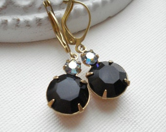 Black Rhinestone Earrings In Gold Sapphire Drop Earrings Vintage Earrings Aurora Borealis Crystal Christmas Jewelry Gift For Her Under 25