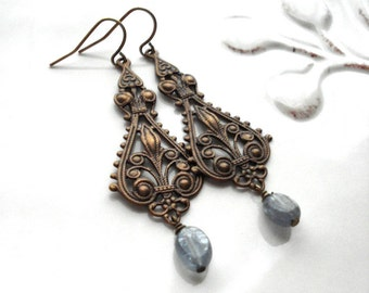 Chandelier Earrings In Antiqued Brass with Blue Kyanite, Filigree, Vintage Style, Long, Chocolate Brown. Pastel