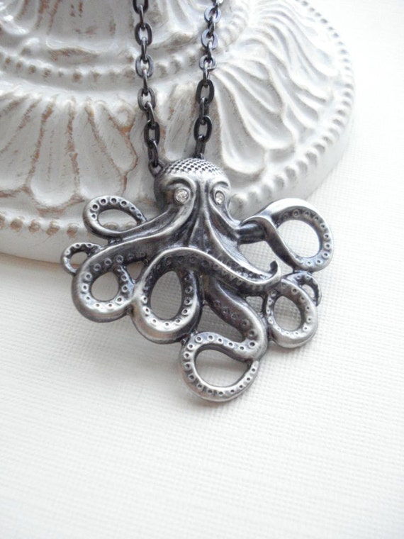 Octopus Dark Oxidized Silver Necklace, Octopus Pendant, Gift For Her Under 25, Sea Creature
