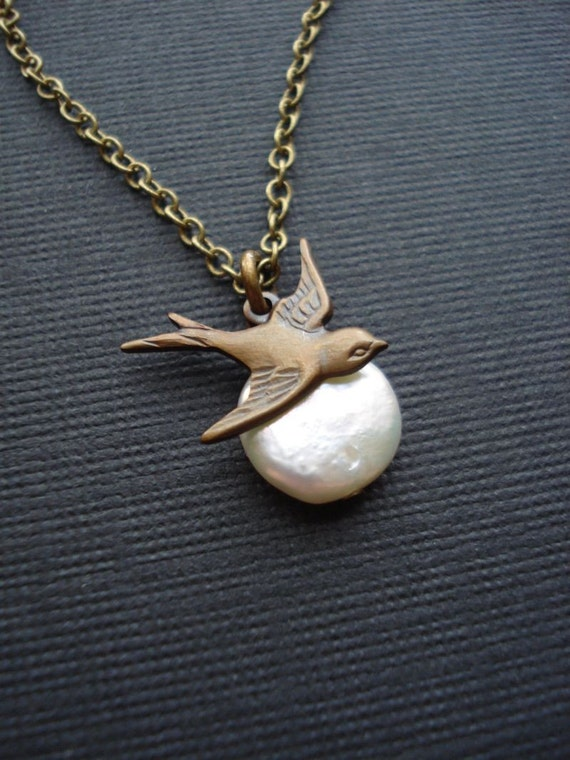 Bird Pearl Pendant Necklace In Antique Brass Pearl Necklace  Vintage Style, White, Brown, Moon, Gift For Her Under 25