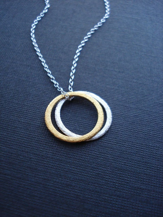 Gold and Silver Circles Necklace, Love Circles Pendant, Rings, Modern Necklace, Everyday Jewelry, Geometric Jewelry