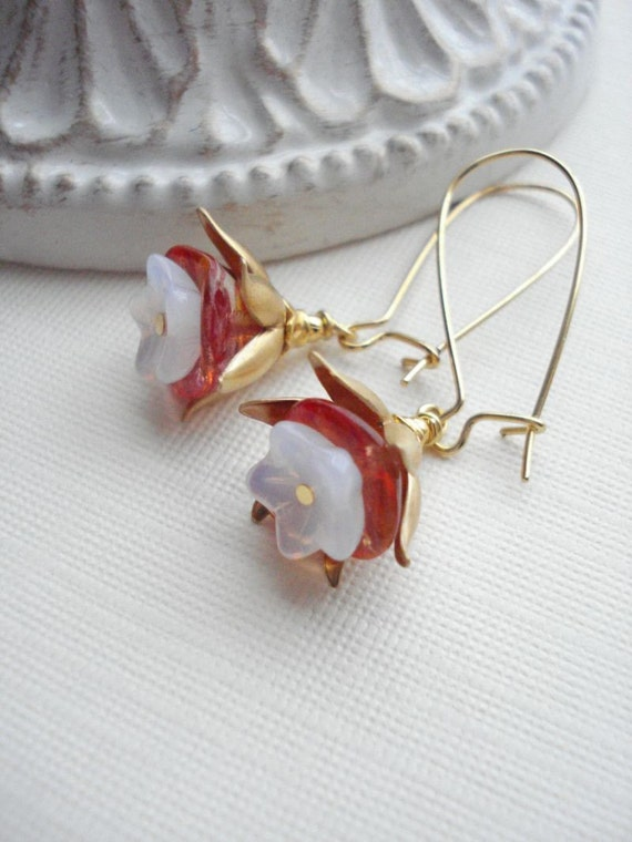 Flower Glass Dangle Earrings In Gold. Rose, Pink, Vintage Style Drop Earrings, Hawaiian, Floral, Gift For Her Under 25