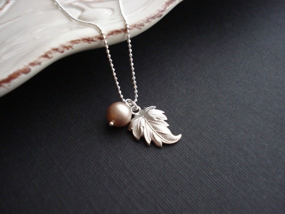 Leaf And Pearl Necklace In Sterling Silver. Pendant. Charm. Nature. Botanical